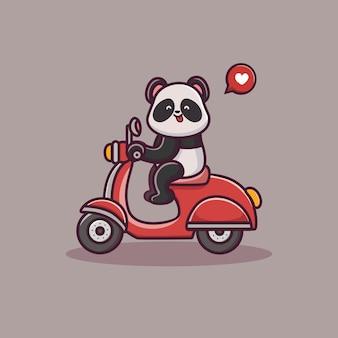 Panda lindo montar una caricatura de scooter