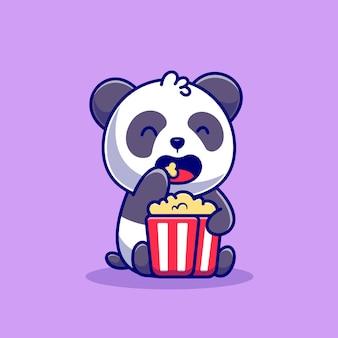 Panda lindo que come la ilustración del icono de la historieta de las palomitas de maíz. concepto de icono de comida animal aislado. estilo de dibujos animados plana