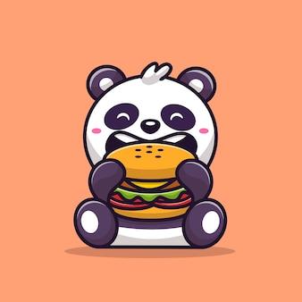 Panda lindo que come la ilustración del vector de la historieta de la hamburguesa. vector aislado del concepto de la comida animal. estilo de dibujos animados plana