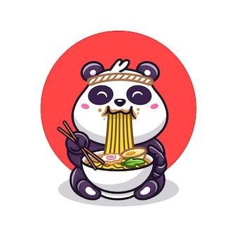 Panda lindo que come la ilustración del vector de la historieta de los tallarines de ramen. vector aislado del concepto de la comida animal. estilo de dibujos animados plana
