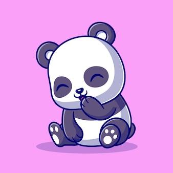 Panda lindo que ríe la ilustración del icono del vector de la historieta. concepto de icono de naturaleza animal aislado vector premium. estilo de dibujos animados plana
