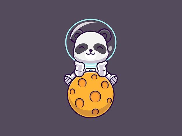 Panda lindo sentado en dibujos animados de espacio del planeta