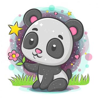 Panda lindo sentado y sosteniendo flores