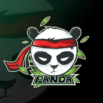 Panda mascota logo esport gaming.