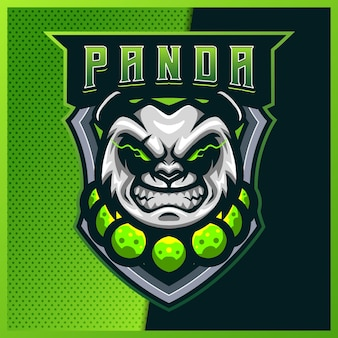 Panda monk esport y diseño de logotipo de mascota deportiva con ilustración moderna. ilustración de oso