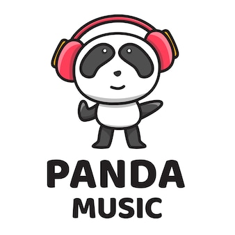 Panda music cute logo template