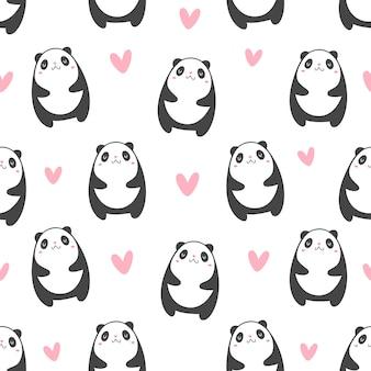 Panda con patrón de corazones