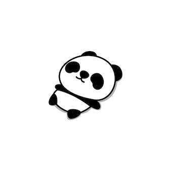 Panda perezoso acostado dibujos animados