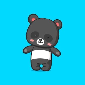 Panda de pie y cerrando los ojos