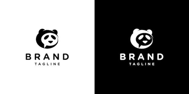 Panda con plantilla de diseño de logotipo de chat