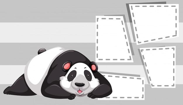Panda en plantilla de nota