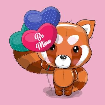 Panda rojo de dibujos animados lindo con ilustración de vector de corazón