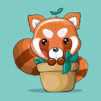 Panda rojo de dibujos animados lindo en una ilustración de vector de planta