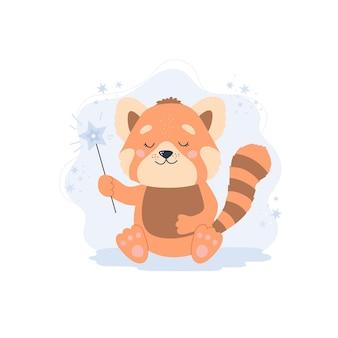Panda rojo lindo. ilustración de concepto de animal bebé para guardería, personaje para niños