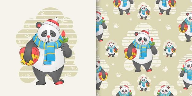 El panda sosteniendo la flor y sosteniendo un regalo en el conjunto de patrones de ilustración.