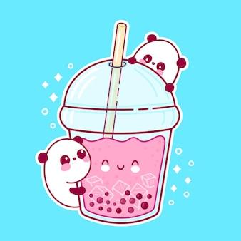 Panda y taza de té de burbujas divertido feliz lindo