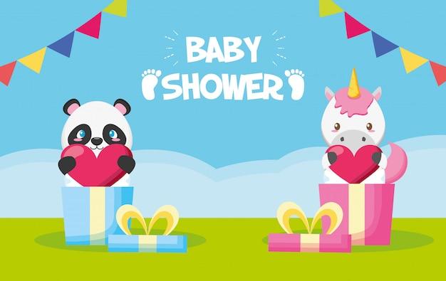 Panda y unicornio en cajas de regalo para tarjeta de baby shower