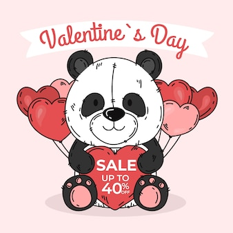 Panda de venta de día de san valentín dibujado a mano