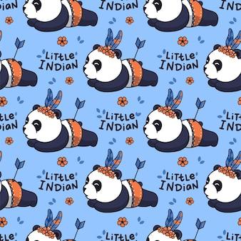 Pandas caricaturizados con una frase de letras: pequeño indio.