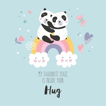 Pandas de dibujos animados lindo sentado en un arco iris y elementos dibujados a mano. mi lugar favorito está dentro de tu cita de abrazo.
