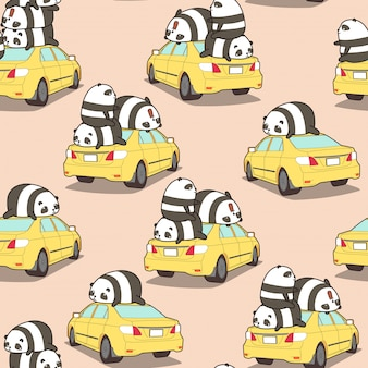 Pandas sin fisuras en el patrón de coche amarillo.
