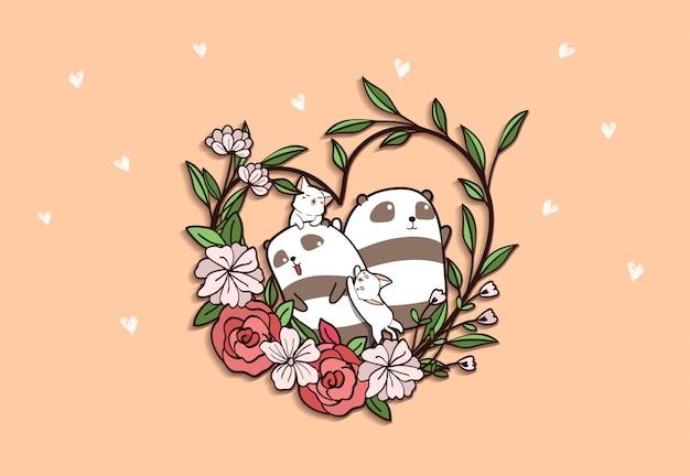 Pandas y gatos con flor de corazón sobre fondo rosa