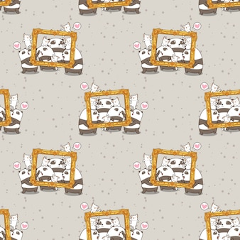 Pandas y gatos kawaii sin costura con un patrón de marco de lujo