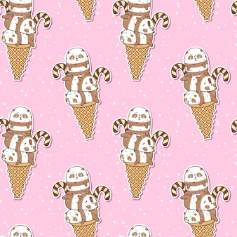 Pandas kawaii sin fisuras en el patrón de cono de helado