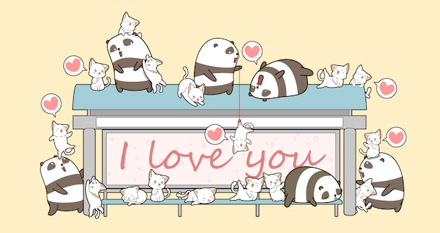 Pandas kawaii y gatos en lugar de esperar un autobús