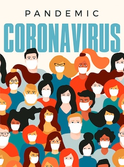 Pandemia de coronavirus, ilustración de personas con mascarilla médica blanca