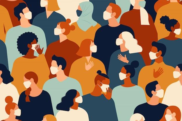 Pandemia de coronavirus. nuevo coronavirus 2019-ncov, personas con mascarilla médica blanca. concepto de ilustración de cuarentena de coronavirus. patrón sin costuras
