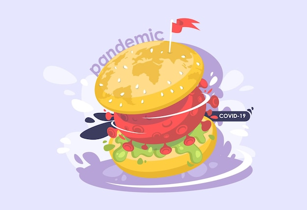 Pandemia mundial de coronavirus. una hamburguesa grande con una célula viral.