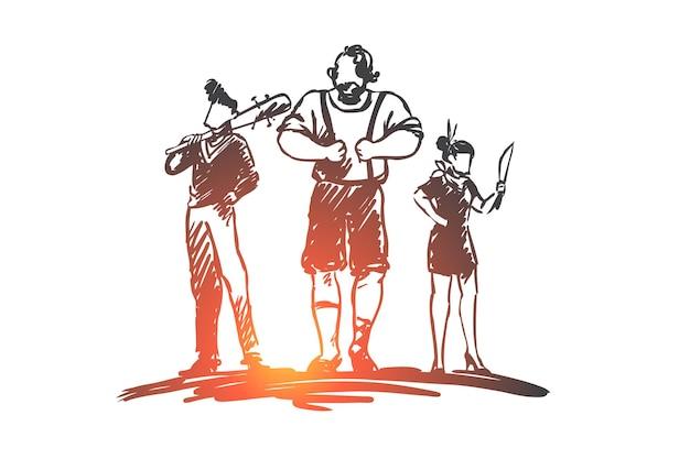 Pandilla, bandidos, criminal, gángster, concepto de arma. dibujado a mano grupo de boceto de concepto de gángsters.