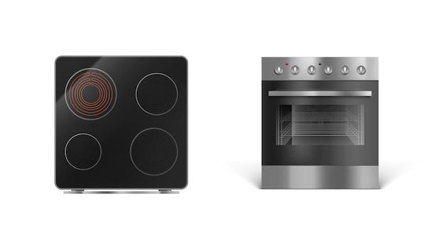 Panel de cocción por inducción con horno, vista frontal y superior de la estufa eléctrica
