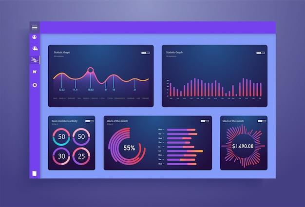 Panel de control, ideal para cualquier propósito del sitio. plantilla de información empresarial.