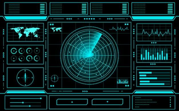 Panel de control de radar abstracto tecnología