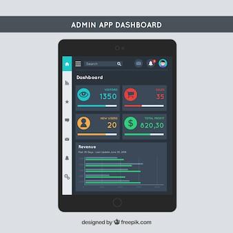 Panel de control de aplicación con diseño plano