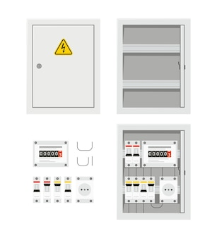 Panel de interruptores de energía eléctrica con puerta abierta y cerrada. caja de fusibles.