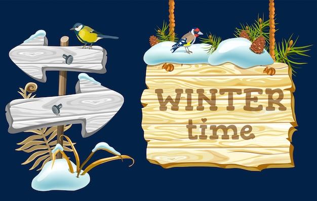 Panel de juego de dibujos animados con nieve.