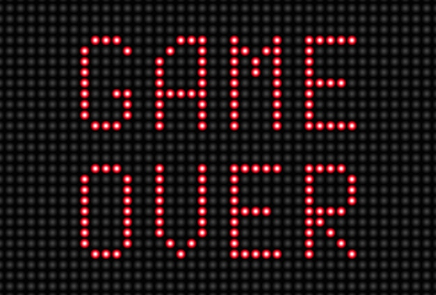 Panel led con game over signo