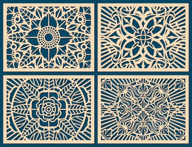 Panel de plantilla de vector patrón de lienzo de pared de corte láser