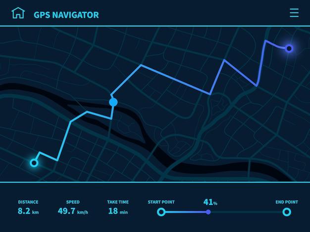Panel de ruta. interfaz de usuario de ruta futurista, navegador de mapa de seguimiento gps con calles de la ciudad, tecnología de mapeo de interfaz móvil, aplicación en ejecución, señal de seguimiento, navegación