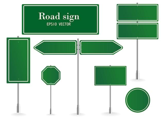 Panel de señalización de dirección, señales de destino de carretera, paneles de señalización de calles y puntero de señalización de dirección verde. ilustración