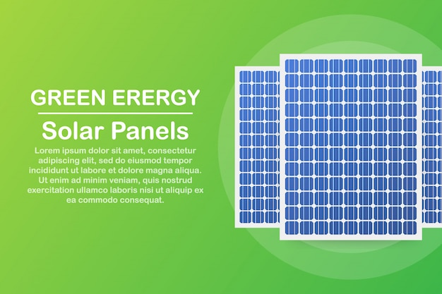 Panel solar altamente detallado. modern alternative eco green energy.