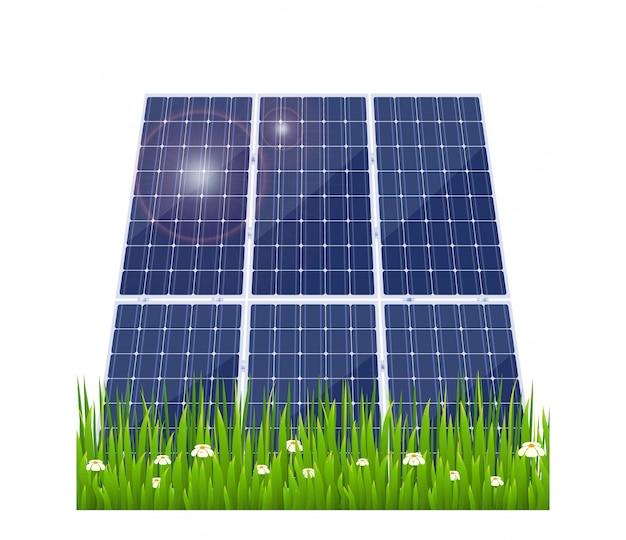 Panel solar con hierba verde.
