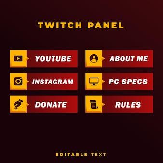 Panel de transmisión de twitch