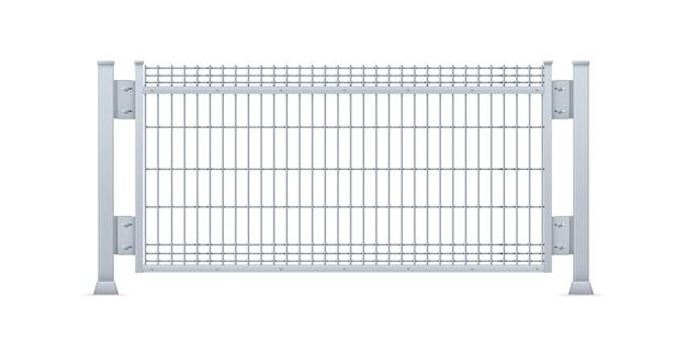 Panel de valla de chapa galvanizada realista.