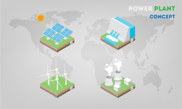 Paneles de la central eléctrica isométricos planos. la energía alternativa moderna.