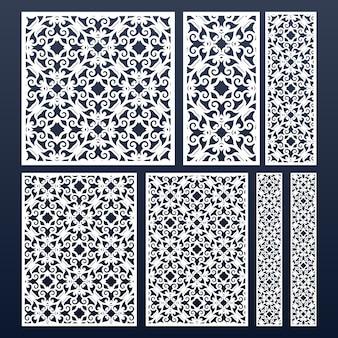 Paneles cortados con láser con encaje. patrón de plantilla de silueta recortada. diferentes tamaños y formas.