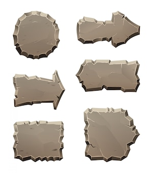 Paneles de dirección de movimiento de piedra y bloques aislados en blanco